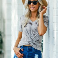 Ribbed Knot Crop Tee Gray