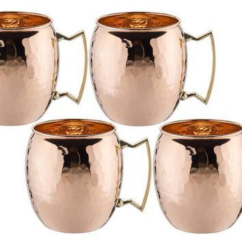 16 oz Solid Copper Hammered Moscow Mule Mug - Set of 4