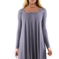 I'll Be Me Mauve Long Sleeve Dress