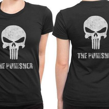 The Punisher Logo White 2 Sided Womens T Shirt