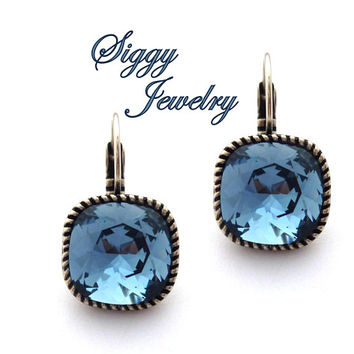 Swarovski® Crystal Earrings, 12mm Denim Blue Cushion Cut, Bezel Drop Lever Back Settings, Assorted Colors and Finishes, Gift Packaged