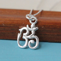 Om necklace, 925 Sterling Silver, gift for yoga fan, 30 symbol necklace, spiritual necklace, ohm necklace, om charm, silver necklace,