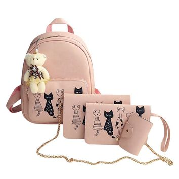 4Pcs/Set Small Women Backpacks 2017 School Bags For Girls PU Leather Cute Cat Backpack Female Shoulder Bag and Purses