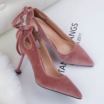 Teahoo Fashion Velvet Stiletto Heels Women Shoes Butterfly Women Wedding Shoes Strange Type High Heels Party Shoes for Women