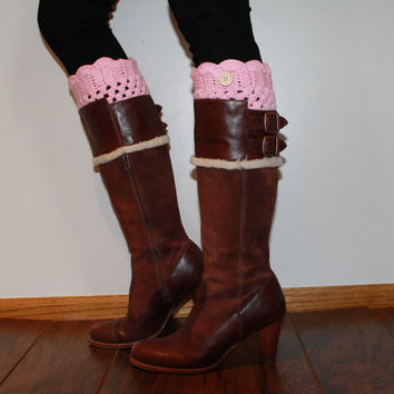 Pink Knitted Boot Cuffs, Knit Boot Toppers, Handknit boot cuffs, lace legwarmers, lace boot socks