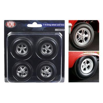 Chrome Drag Wheels and Tires Set of 4 1/18 by Acme