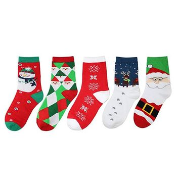Women's Cute Happy Christmas  Cotton Socks  5 Pairs  With Box Crew