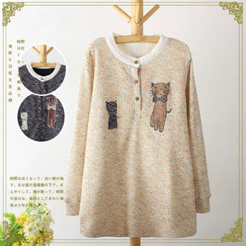 Cat Pattern Button-Up Knitted Sweater