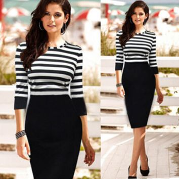 Striped Quarter Sleeves Spliced Bodycon Dress