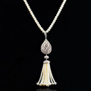 New Arrival Stylish Shiny Gift Pearls 925 Silver Sweater Chain Jewelry Necklace [4914846148]