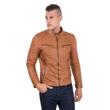 Men's Genuine Leather Biker Jacket tan Color