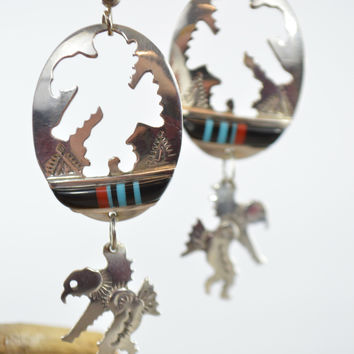 Navajo Dangling Earrings Sterling Silver Inlaid American Eagle Dancer