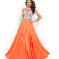 Coral Pink Beaded Mesh Bodice Chiffon Gown