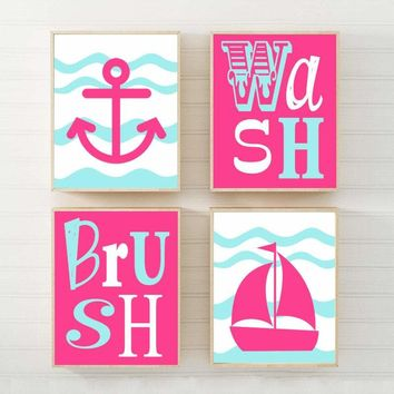 Girl Nautical Bathroom Wall Art, Nautical Canvas or Prints Anchor Sailboat Chevron, Nautical Shared Sisters Bathroom Decor Set of 4 Pictures