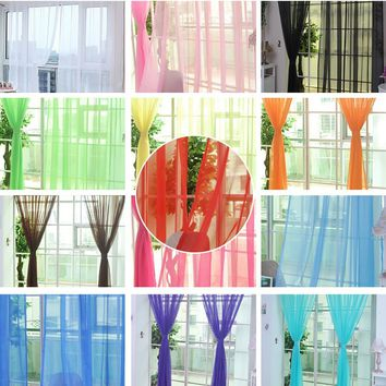 New Home Decor Pure Color Tulle Door Window Curtain Drape Panel Sheer Scarf Valances