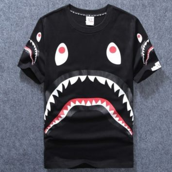 Ape shark mouth printing for lovers and short sleeves