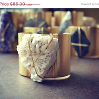 ON SALE LUX Bohemian 2 Inch Gold Plated Natural Raw Stilbite Wire Wrapped Gemstone Cuff