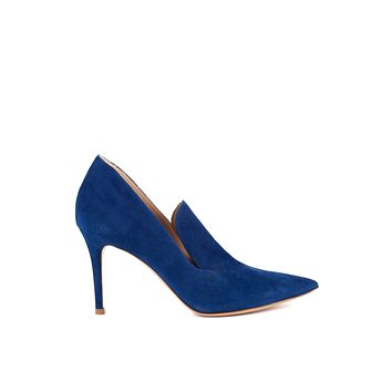 Gianvito Rossi Womens 85 Blue Suede Loafer Style Pumps