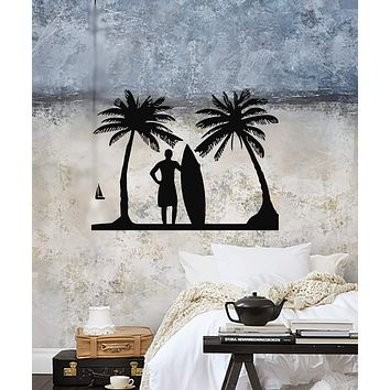 Vinyl Decal Surf Relax Beach Vacations Surfing Palm Wall Stickers Unique Gift (ig518)