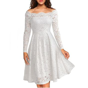 Woman Dresses 2017 Long Sleeve Slash Neck Wedding Party Wear Casual A-line Sexy Red Black White Lace Dress Plus Size S-3XL