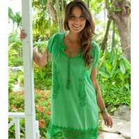 Rose & Rose Sacha Embroidered Dress - Green