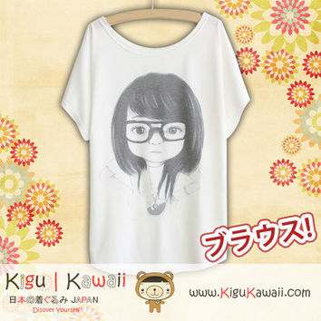 New Sweet Little Girl Fashionable Loose and High Quality Spring and Summer Tshirt Free Size KK470