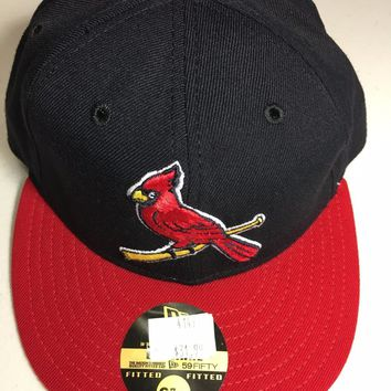 NEW ERA ST. LOUIS CARDINALS NAVY RETRO GRAY 5950 ONFIELD FLAT BRIM FITTED HAT