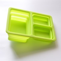 Bento Box Collapsible Lunch Container. 3 Leakproof Lunch Box Compartments. Collapses to 1/3 Size for Convenience
