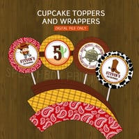 Cowboy Cupcake toppers Party Circles with Free Cupcake Wrapper - Wild Wild West Cow boy Party Cupcake Toppers for Birthday or Baby Shower