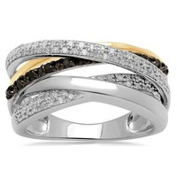 18k Gold Plated Sterling Silver Black and White Diamond Orbit Ring (1/3 cttw, I-J Color, I2-I3 Clarity)