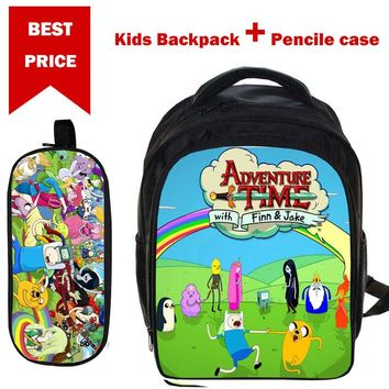 Girls' Boys' Cartoon SchoolBag Simpsons AdventureTime Students BookBag Children Daypack with Pencil Case Back to School Gifts