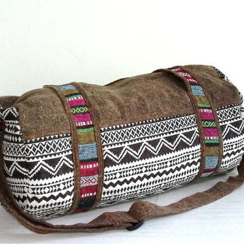 Brown Mini Tote Duffel bag, Aztec Weekender bag, Lightweight travel bag, Hippie overnight bag, Cotton sports gym bag, Round cute Duffle