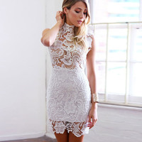 Female Dress Zippers Lace One Piece Dress = 4804299460