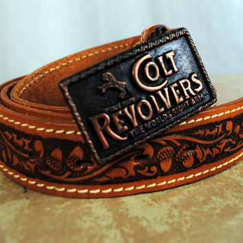 Acorn Vintage Tooled Leather Belt  Colt Revolver by RogueRetro