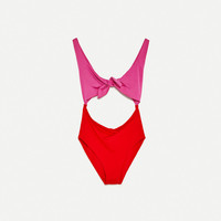 KNOTTED SWIMSUIT - SWIMWEAR COLLECTION-WOMAN | ZARA United States