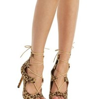 Classic Leopard Leopard Print Lace-Up Heels by Charlotte Russe
