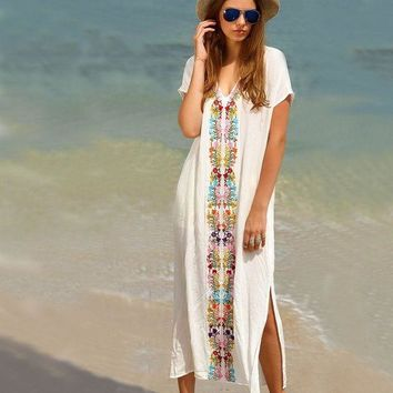 DCCK7N3 Women's Colorful Cotton Embroidered Turkish Kaftans Beachwear Bikini Cover up Dress