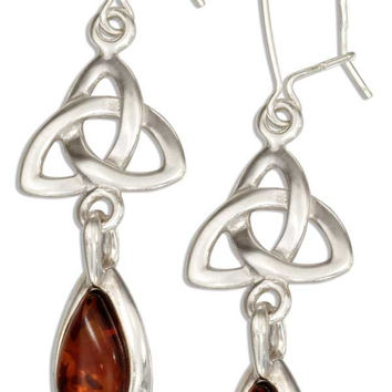 STERLING SILVER CELTIC TRINITY KNOT EARRINGS WITH BALTIC AMBER TEARDROP