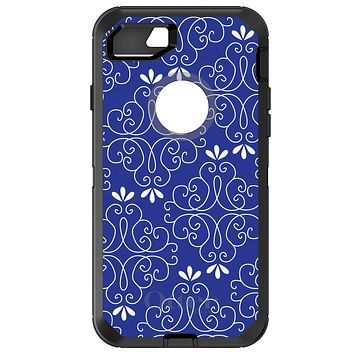 DistinctInk™ OtterBox Defender Series Case for Apple iPhone / Samsung Galaxy / Google Pixel - Dark Blue White Floral