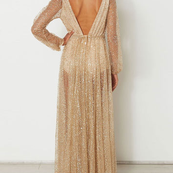 Golden Plunge V-neck Tie Waist Sparkle Sheer Maxi Dress