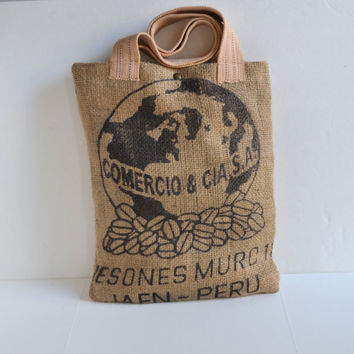 Repurposed Burlap Tote Bag - Vegan Burlap Tote Bag - Natural Coffee Bean Tote