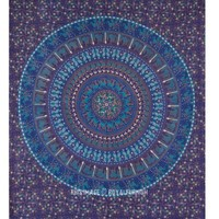 Queen Blue Bohemian Wall Tapestry, Indian Mandala Tapestry Wall Hanging Bedspread - RoyalFurnish.com
