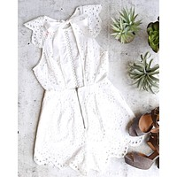 open back crochet eyelet romper
