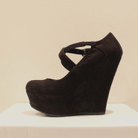 Cross Strap Suede Wedge Platforms (Small/Indie Brands)