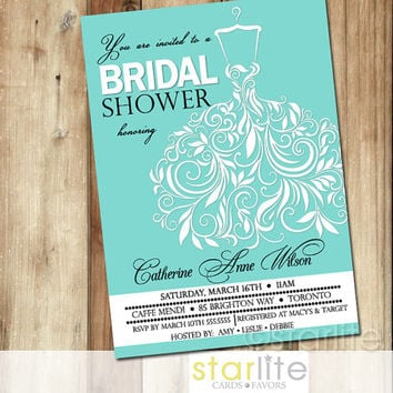 Bridal Shower Invitation, Tiffany Blue, Swirly Unique Wedding Gown - 5x7 vintage style unique invitation design - You Print