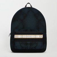 Midnight Blue Marble with Gold Glitter Ribbon Backpack by Sheila Wenzel