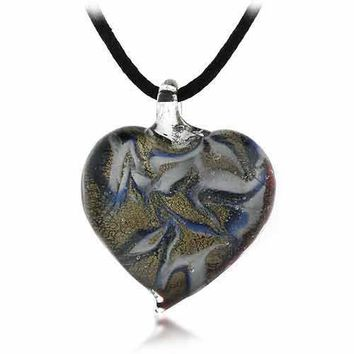 Murano Glass Gold Color Brown Blue White Swirl Heart Silk Pendant Necklace