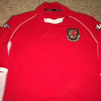 Sale!! Vintage Kappa WALES Home 2002/2003 Soccer Jersey Retro Football Shirt