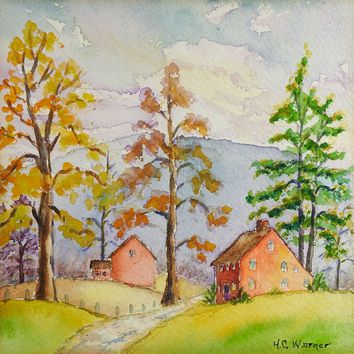 Small Red Farm House Landscape Watercolor Painting