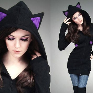 Long cat hoodie black violet ears kawaii by PaperCatsPL on Etsy